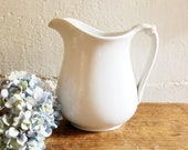 Ironstone pitcher - made in England - farmhouse decor -white ironstone -English ironstone -white pitcher -antique ironstone -vintage pitcher