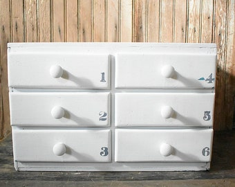 White Storage Drawers   White Cubby Unit   Chippy Drawers   Numbered Drawers    6 Drawer Cabinet