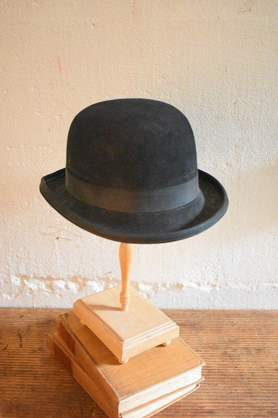 Black Felt Derby Hat Bowler Adult Costume Accessory Downtown Abbey Victorian New