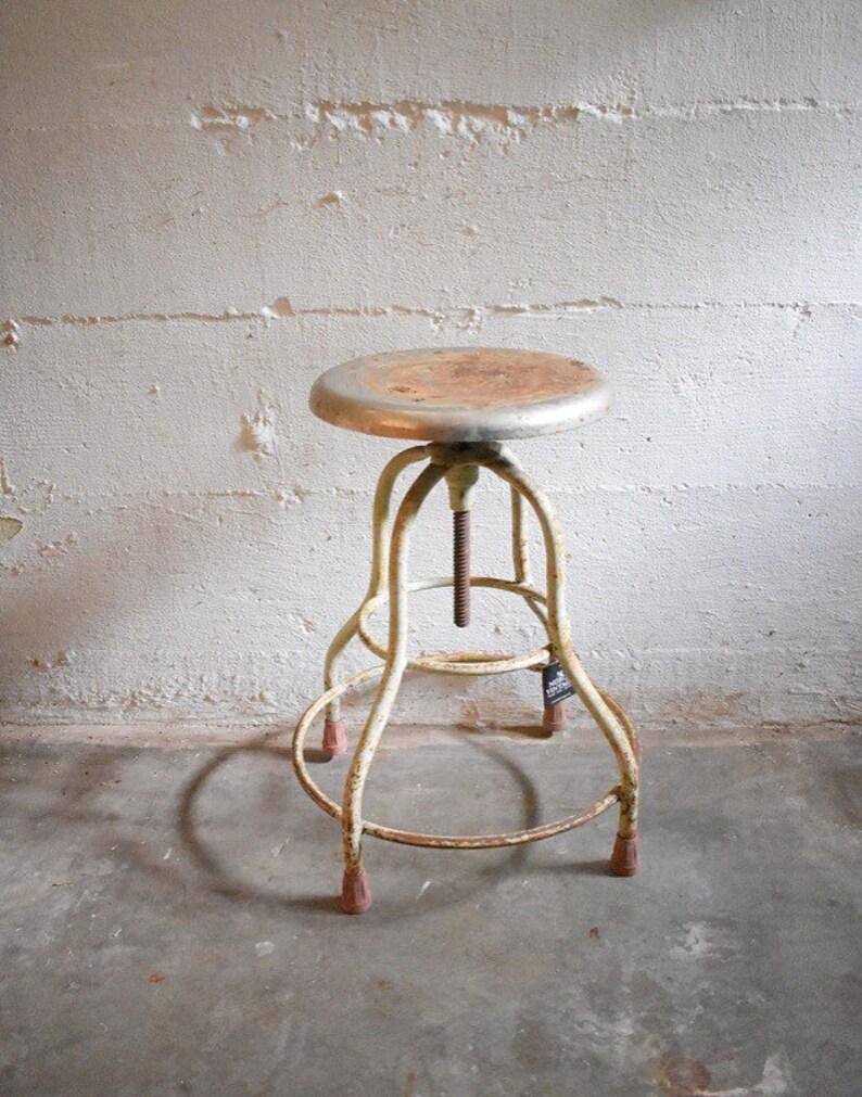 Terrific Vintage Medical Stool Industrial Stool Metal Stool Rusty Stool Adjustable Height Stool Onthecornerstone Fun Painted Chair Ideas Images Onthecornerstoneorg