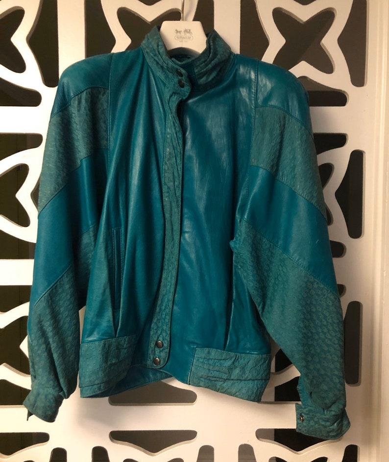 Vintage Green Leather Bomber