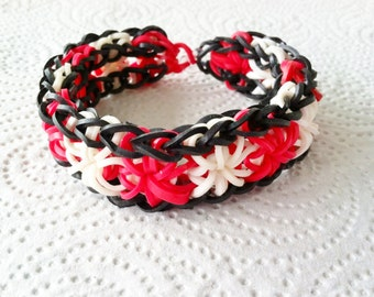 FIREFLY - Full-Sized Rainbow Loom Sunburst Bracelet In Black, Red, and White.  This Is A Stunning Bracelet - No Extension. For Adult.