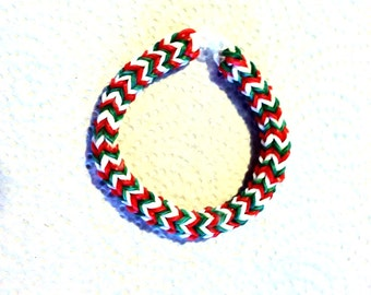 """Rainbow Loom Hexafish Bracelet CHRISTMAS CANDY, size 6 """".  Such A Cute Bracelet For a Child Or Young Teen.  Perfect For Christmas."""