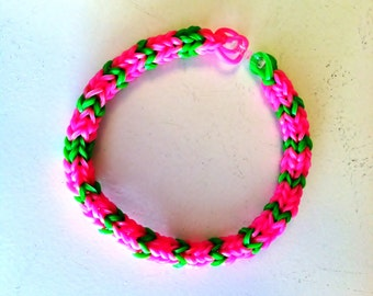 "Pretty In Pink, RAINBOW LOOM Hexafish Size 7"" Adult Size Bracelet in Pink and Green.  Very Pretty!"