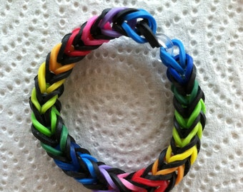"""BLACKFISH, the New Bracelet Made With Rainbow Loom Bands.  This Is A 6"""" Bracelet Done In the Fishtail Design.  Made to Fit A Youth."""