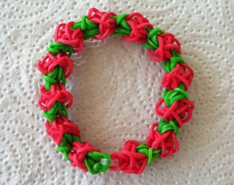 The CHRISTMAS ROSE, Rainbow Loom Bracelet In Tulip Tower Design.  Full Size, No Extension, Teen or Adult.