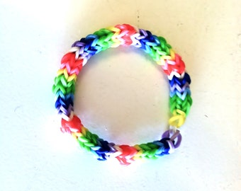 "Rainbow Loom, FIESTA JR., Measures 5 1/2"" For A Child.  Done In Hexafish Pattern.  Every Young Girl Would Love This One!  8 Colors."