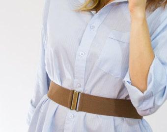 "2"" cinnamon brown elastic waist belt, regular and plus size available"