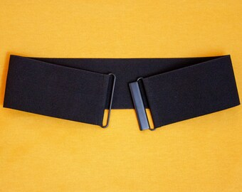 26d4ab04218 Black twill elastic waist belt for women - wide stretch belt available in  regular and plus size