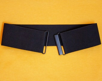 7f0db8478 Black twill elastic waist belt for women - wide stretch belt available in  regular and plus size