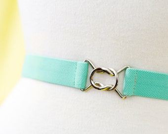 Skinny mint green elastic waist belt with interlocking clasp - available in plus and regular sizes
