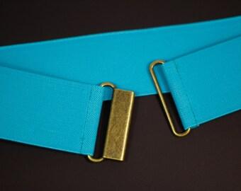 "2"" aqua blue/green elastic waist belt for women, teal cinch belt with your choice of clasp"