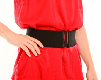 Black elastic waist belt for women - wide stretch belt available in regular and plus size