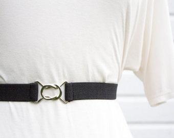 Skinny black elastic waist belt with interlocking clasp - women's stretch belt in regular and plus size