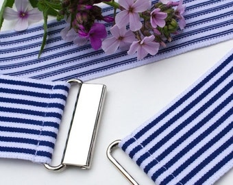 """Sample sale - Large blue and white striped cinch belt, 2"""" elastic waist belt with silver clasp"""