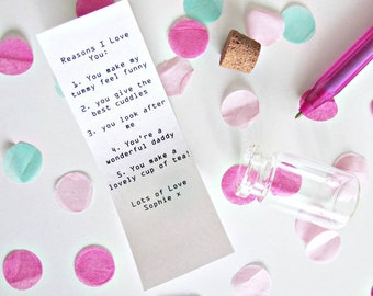personalised reasons i love you letter in a bottle