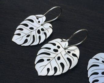 Monstera Deliciosa Sterling Silver Earrings Ritual Remains Leaf Earring Leaves Plant Based Jewelry Gifts For Her Garden Witchy Gift Ideas