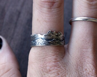 Two Layer Sterling Silver Mountain Ring Adjustable and Fixed Band Landscape Ring Custom Mountain Range Ring Mountain Jewelry Sterling Silver