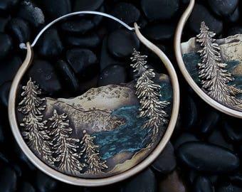 Big Sur Landscape Earrings California Coast Mountain Earrings Mountain Jewelry Witchy Jewelry Ritual Remains Nature Gift Silver Copper Brass
