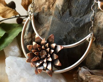 Copper Flower Crystal Silver Necklace Ritual Remains Flower Pendant Botanical Jewelry Witchy Jewelry Sterling Silver Chain Gift Ideas Leaves