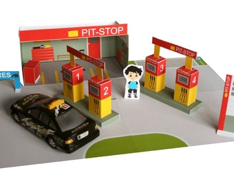 PAPER TOY Gas Station Printable Paper Toy House Diy Kit Party Promtables Car Kids Fun Downloadable
