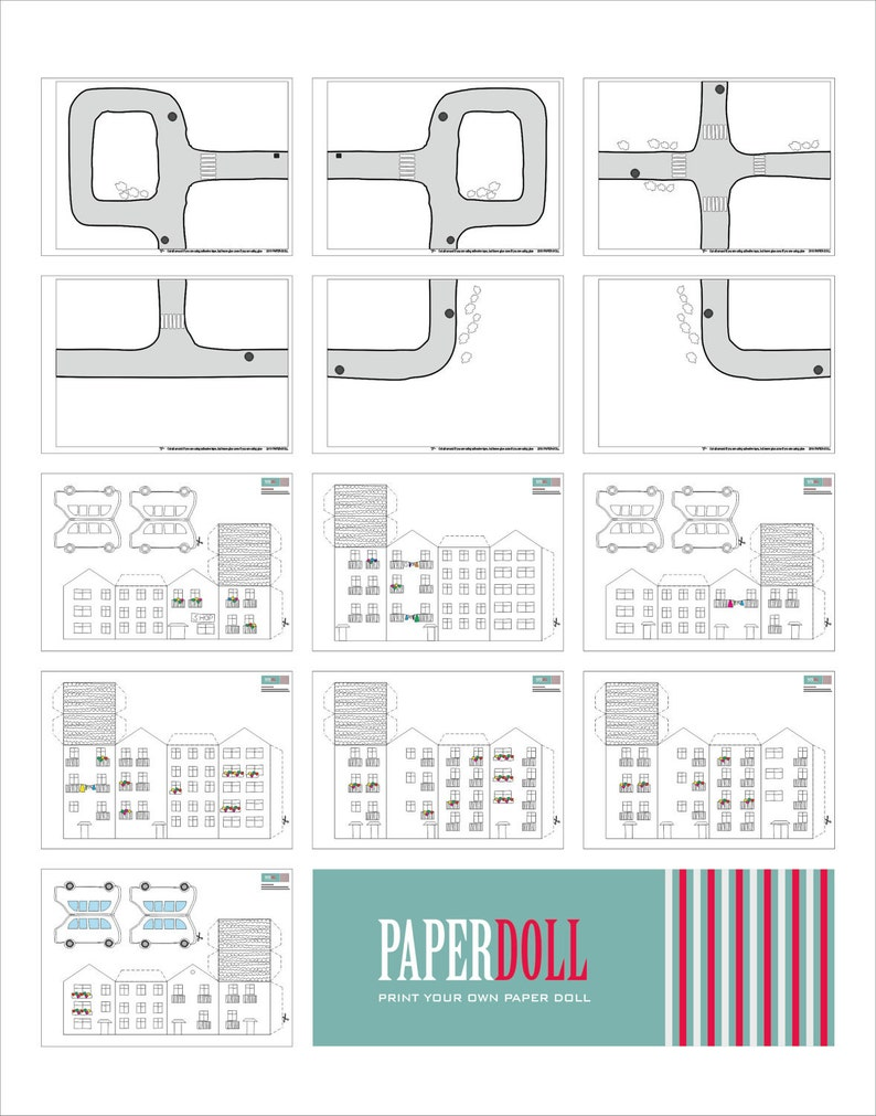 paper toy - CITY, printable toy kit, paper house, paper doll kids,  cardboard toys, downloadable party kit toys