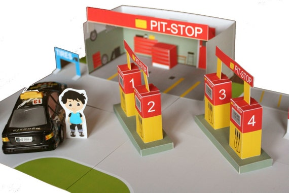 PAPER TOY gas station printable paper toy , paper house diy kit, party  promtables, toy car, kids fun, downloadable