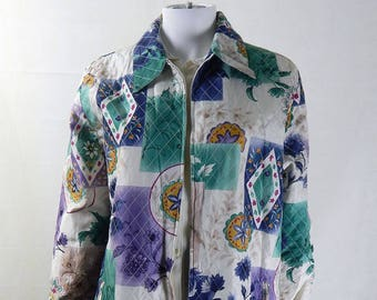 Original 1980s Vintage Bold Quilted Silk Flash Jacket UK Size 16/18