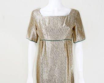 d1c8363b4b4db 1960's Vintage Simon Ellis Long Gold Shimmer Dress Size 10 Evening Party