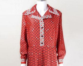 Original 1970s Vintage Red Shirtwaister Dress UK Size 16/18