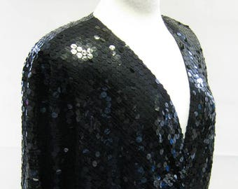 Original Vintage 1980s Oleg Cassini Black Sequin Siren Dress UK Size 12/14