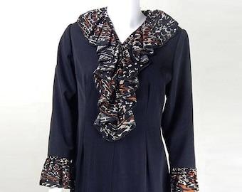Original 1970s Vintage Black Ruffled Smock Dress UK Size 10