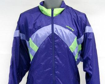 Mens 80s Vintage Purple Adidas Track Top /Windbreaker Jacket Size Large Retro