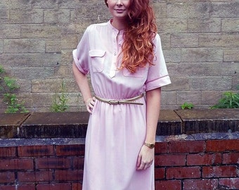 Original 1970s Vintage Pale Pink Shirtwaister Dress UK Size 10