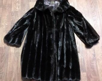 b3ac1efb84f Vintage 1960s Tissavel France Simulated Fur Coat UK Size 12 14