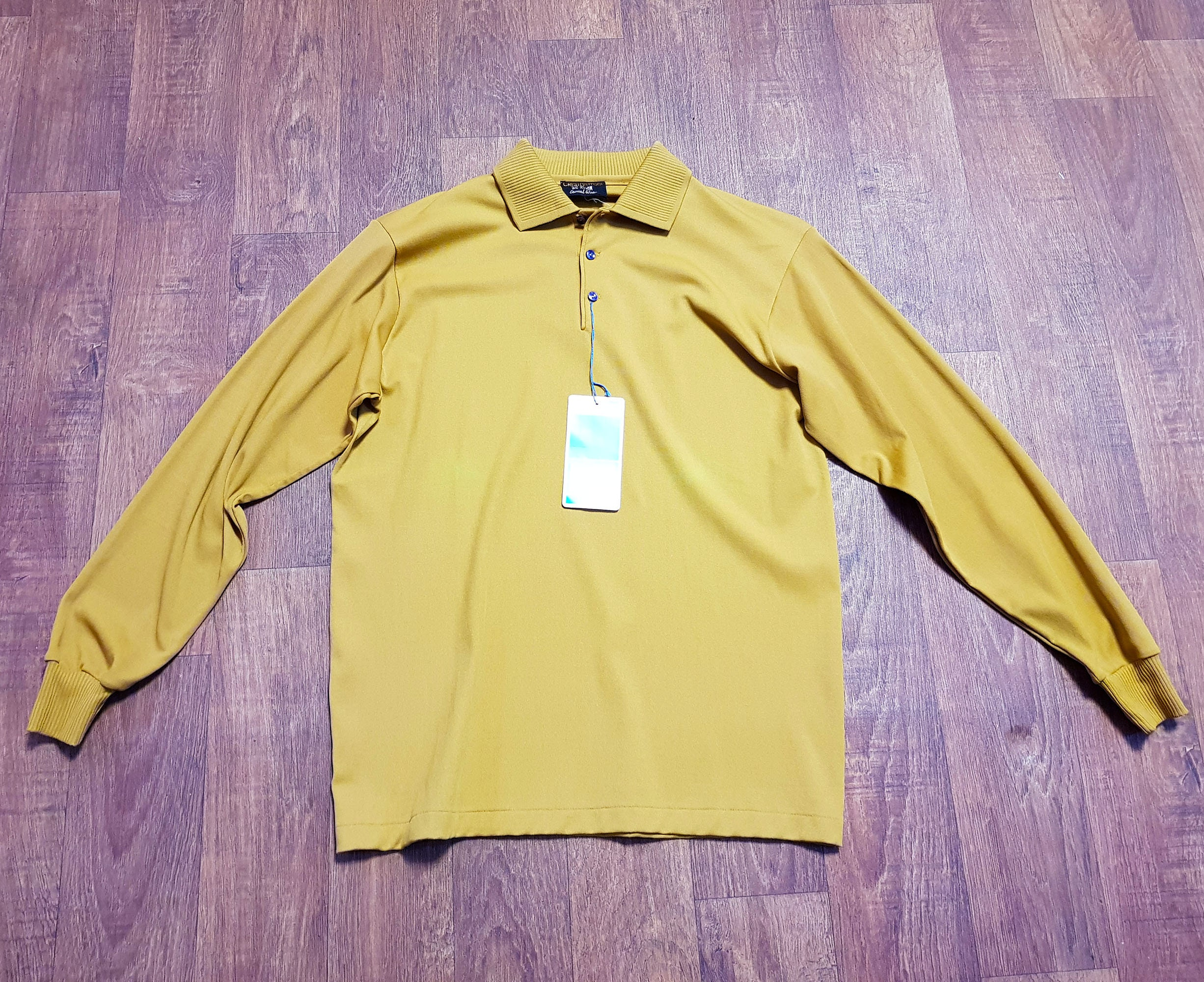 1970s Men's Shirt Styles – Vintage 70s Shirts for Guys Mens Clothing  1970S Vintage Mustard Long Sleeved Polo Uk Size Medium Clothing, Polo, Top, Fashion $40.86 AT vintagedancer.com
