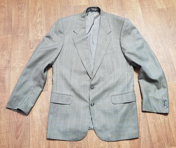 Mens 1970s Vintage Jaeger Green Check Blazer UK Si