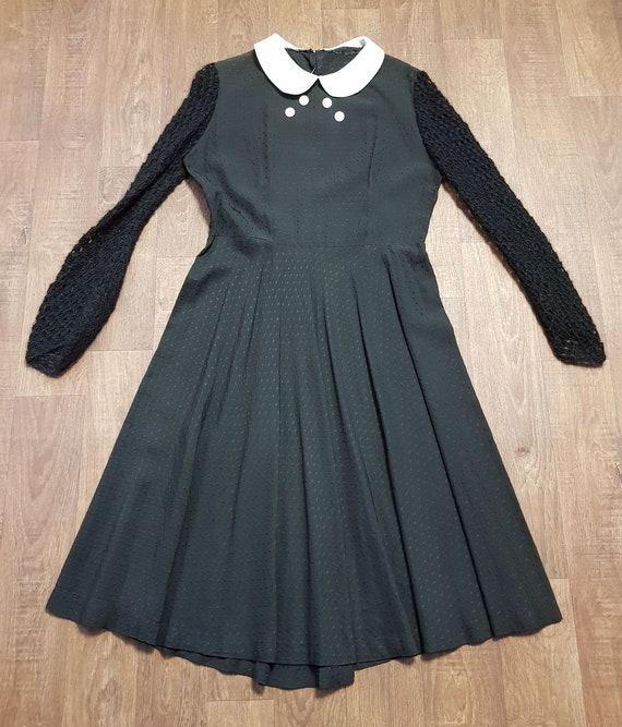 1960s Vintage Black Peter Pan Collar Dress Size 14