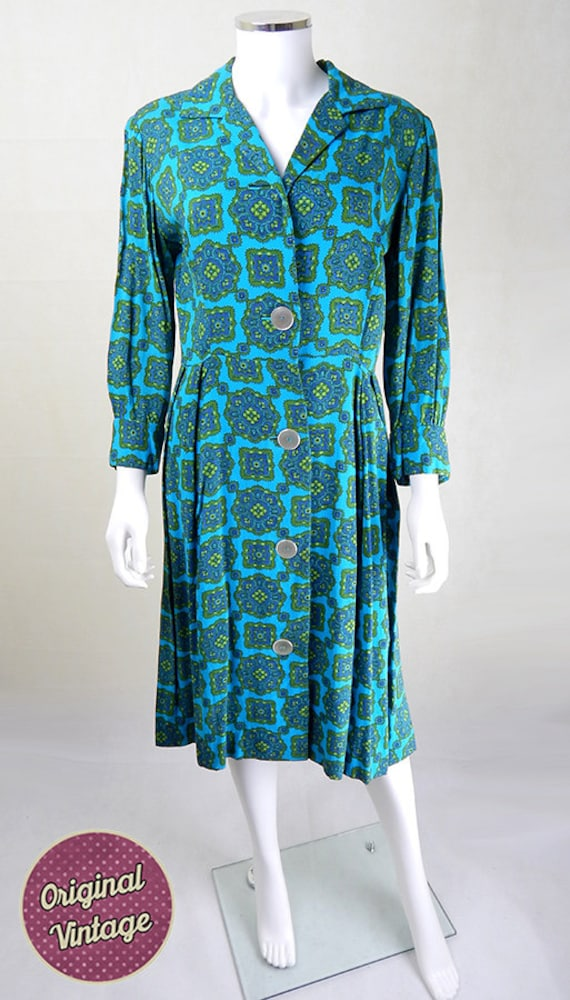 Original 1940s Day Dress, Vintage 1940s Turquoise