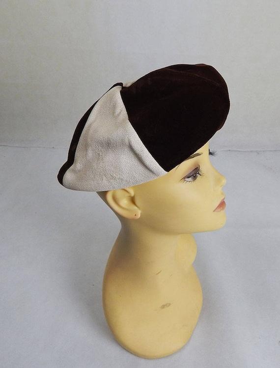 Original Vintage 1960s Cream and Brown Hat Vintage