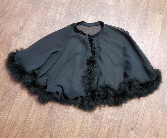 Black tulle capelet velvet print peacock lace feathers