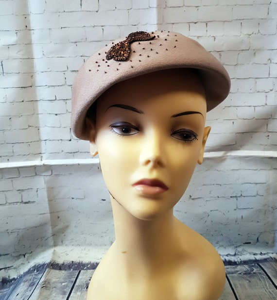 Vintage 1940s Hat   1940s Vintage Jacoll Beaded H… - image 3