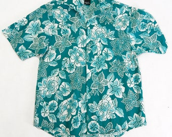 Mens 1970s Vintage White & Green Hawaiian Floral Shirt Size Large