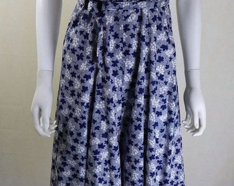 Vintage 1950s Blue and White Floral and Stripe Dress UK Size 10/12