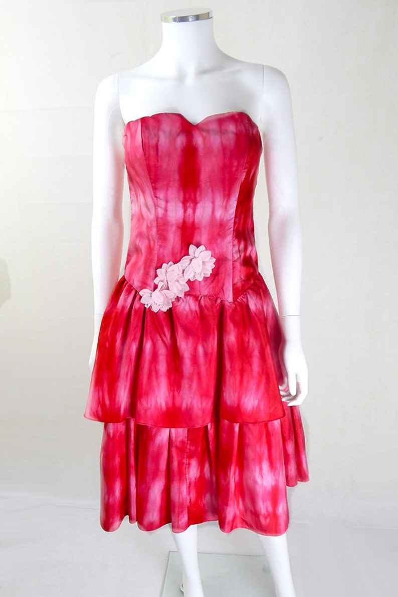 9aa9db5e47 Original Vintage 1980s Gina Bacconi Pink Tie Dye Prom Dress UK