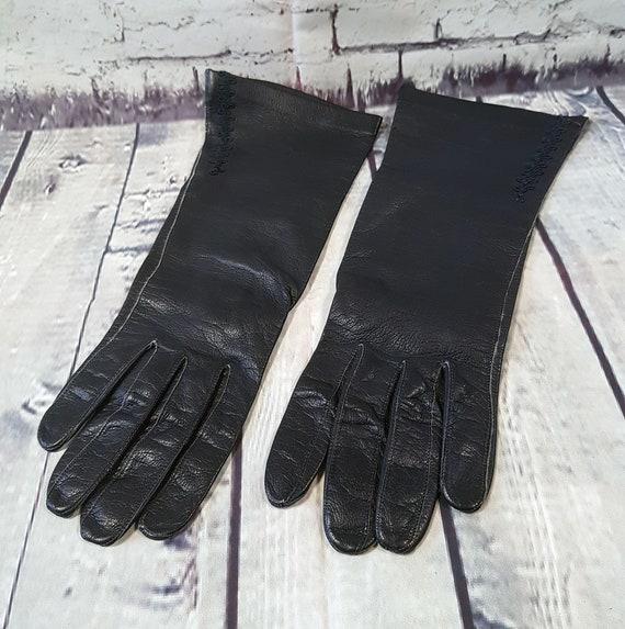 Vintage Gloves | Vintage Dents Black Kid Leather D