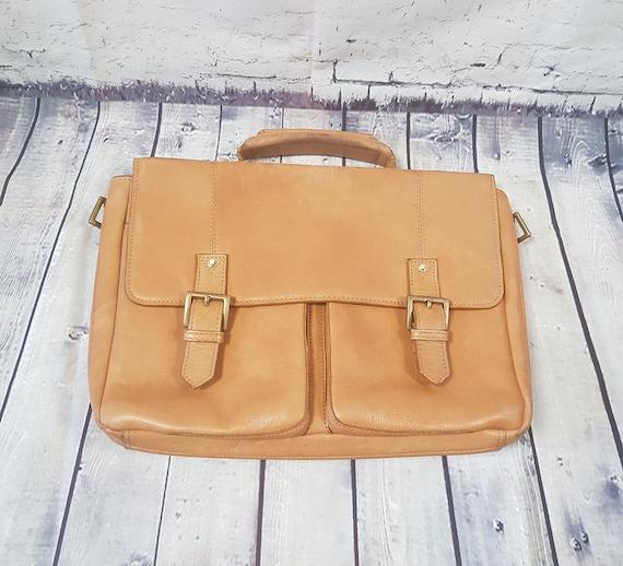 Retro Satchel | Vintage Inspired Light Tan Leather
