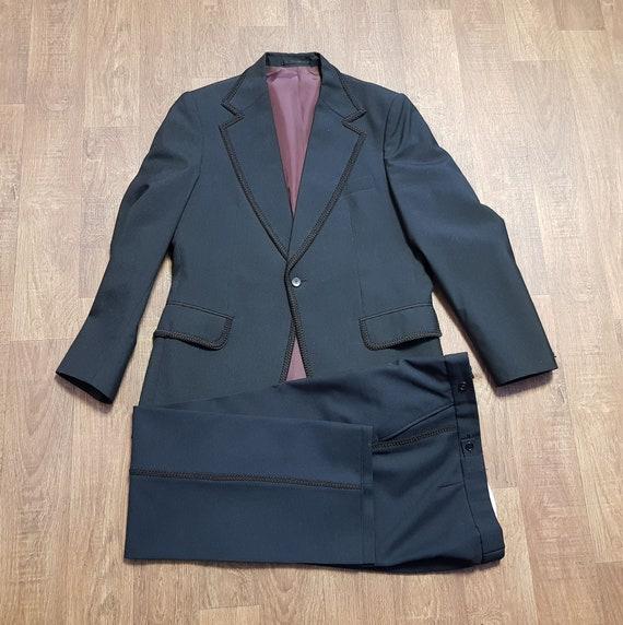 Mens Vintage Suit | 1970s Mens Vintage Black Braid