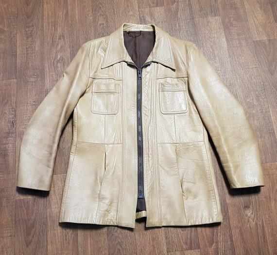 Mens Vintage Leather Jacket, Mens 1970s Vintage Li