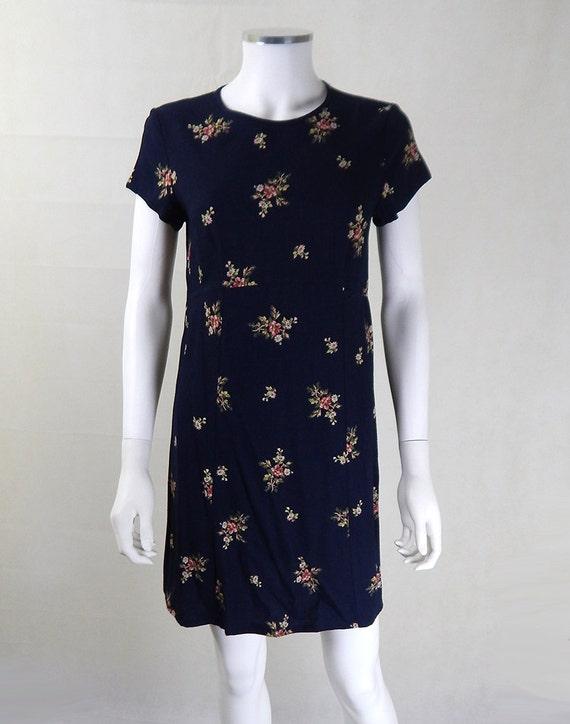 Vintage 1980s Laura Ashley Navy Floral Dress UK Si